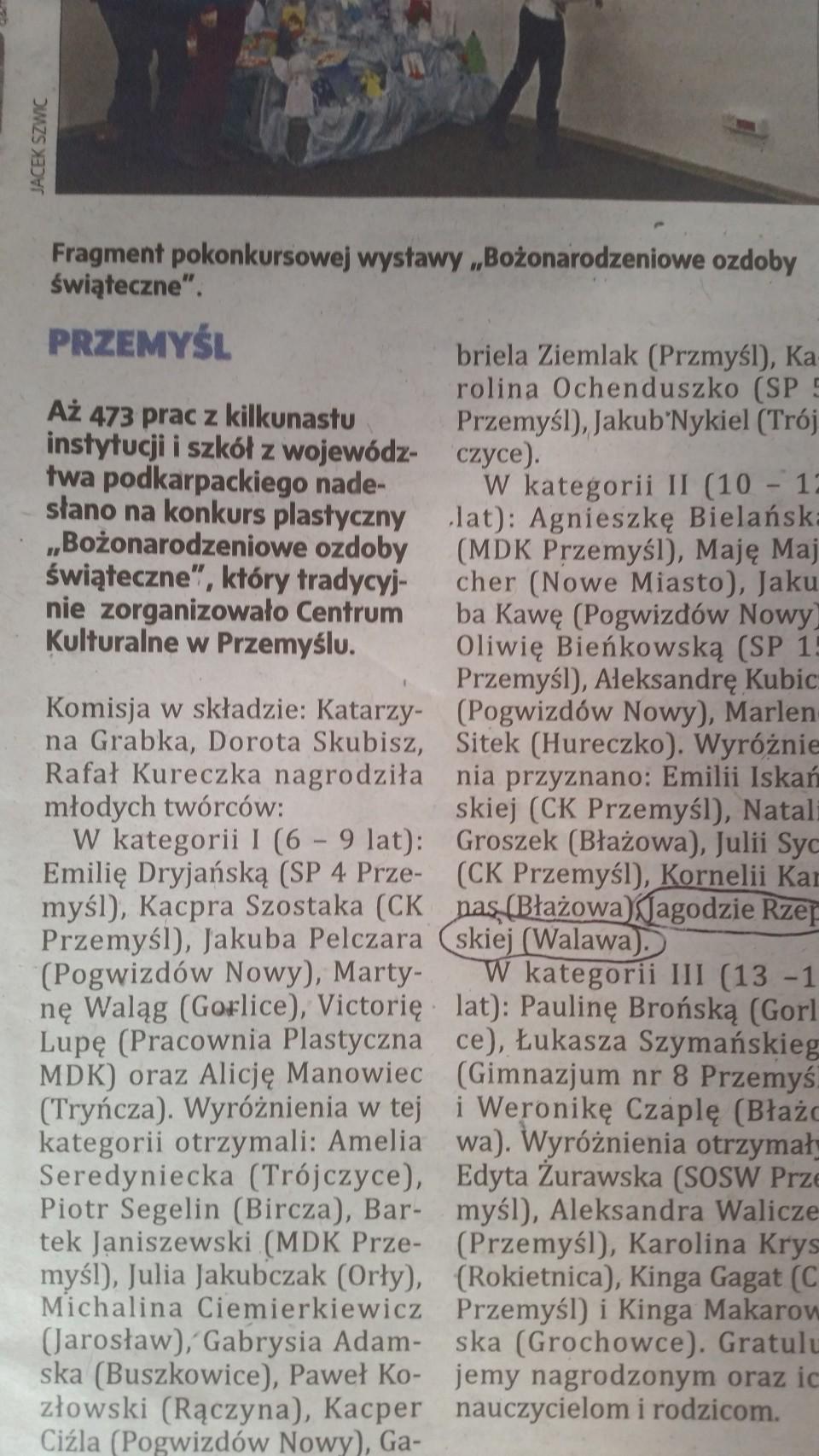 Wyróżnienie dla Jagody Rzepskiej w konkursie plastycznym